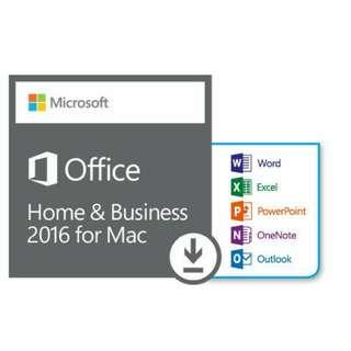 全新原裝正版 Microsoft Office 2016Home & business for Mac 家用及商業版 OEM軟件 key 中英文, 一用戶