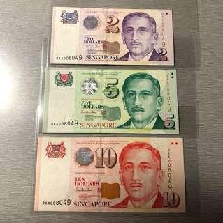 Portrait $2, $5 and $10 first prefix identical set 0AA008049 UNC