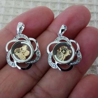 A Pair of Turning Fortune Rotating Pendants Snake and Monkey  Allies