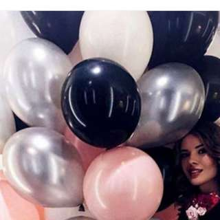 (In Stock) Party Balloons Set-(50pcs,Including Pink, Silver, white,black)