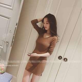 性感彈力修身顯瘦開叉針織連身裙