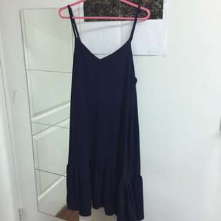 韓 深藍 藏藍 雪紡 背心裙 長裙 吊帶裙