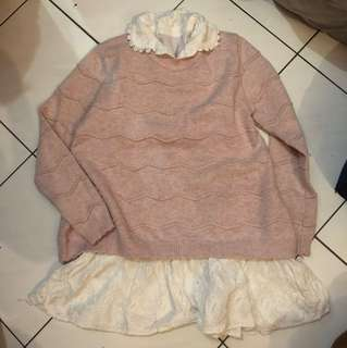 Pink knitted 2 in 1 top