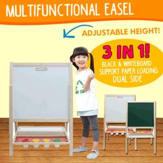 [Free Registered Mail] Multifunctional Pine Blackboard Whiteboard Easel Adjustable Height Great tools to Write and Draw