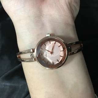 Rose Gold White Plate Womens Watch