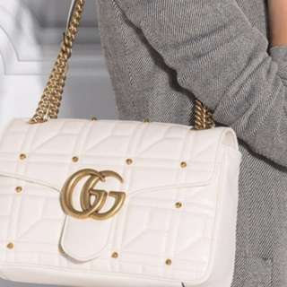 Gucci marmont white studded handbag
