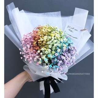 [VDAY] Colourful Rainbow baby's breath bouquet real flowers fresh flowers hand bouquet