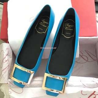Roger vivier rv trompette leather flat 水藍色 平底鞋