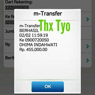 Bukti transfer customer