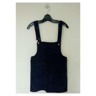 🚚 燈心絨深藍色吊帶裙