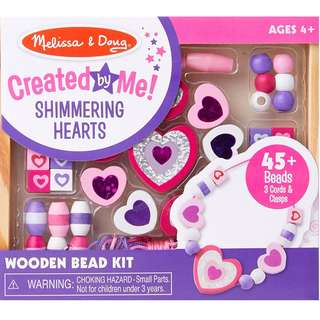 BNIP: Melissa & Doug Shimmering Hearts Wooden Bead Set: 45 Beads and 3 Laces for Jewelry-Making