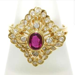 18k Ruby & Diamod Ring - Vintage