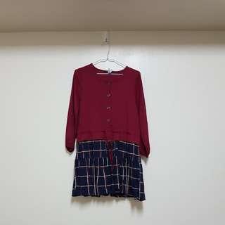 🚚 紅藍格紋拼接洋裝
