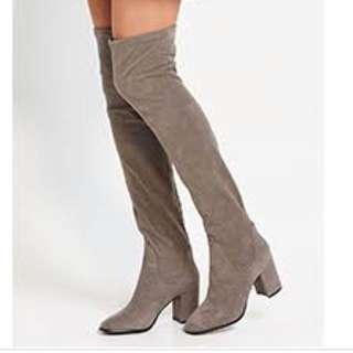 Over knee faux suede grey boots