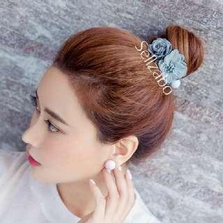 Blue Flowers Ball Hair Elastic Bands Head Sellzabo Accessories