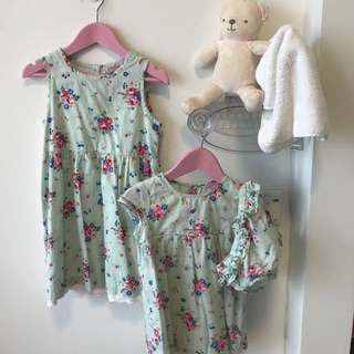 Sisters matching outfit (Suitable for 9-24months and 2-4years old) Authentic Cath Kidson Floral Dresses