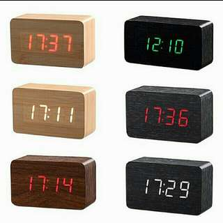 [LARGE DISCOUNT] Wooden Multi-functional Modern LED Digital Desk Clock, Portable Clock, Classy And Inexpensive, Table Clock, Office And Home Decor, Ready Local Stock, Local Delivery, 100×60×40mm, MEDIUM SIZE, BEST PRICE OFFERED