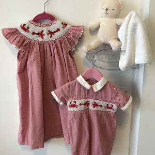 Sisters matching outfit (Suitable for 9-24months and 2-4years old) Old English Victorian styled frock dress and romper.