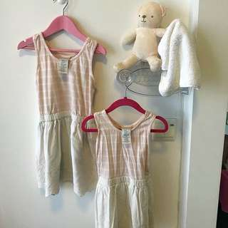 Sisters matching outfit (Suitable for 9-24months and 2-4years old) Sweet Pink ribbon Dresses