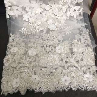 Wedding white floral lace with beaded pearls and crystals