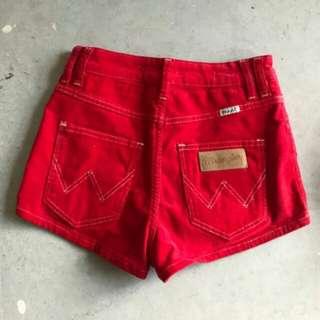WRANGLER Hi cheeky high waisted corduroy cord red shorts vintage sz 8