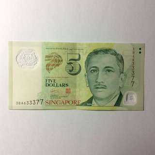 3BA633377 Singapore Portrait Series $5 note.