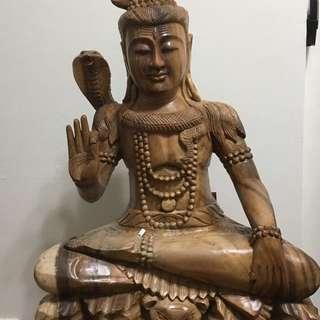 Lord Shiva Wooden Statue