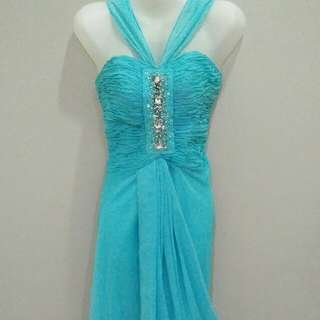 Torquiose greek style gown