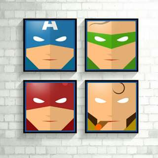 DC Marvel Heroes Minimalist Wall Frame Poster