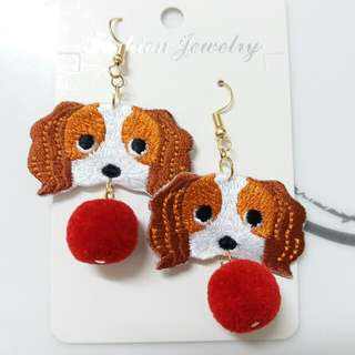 可愛動物刺繡耳環