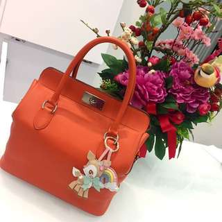 🍊Save 7k!🍊 Excellent For CNY! Very Good Condition Hermes Toolbox 26 In Orange Evercolor Leather and Silver Palladium Hardware