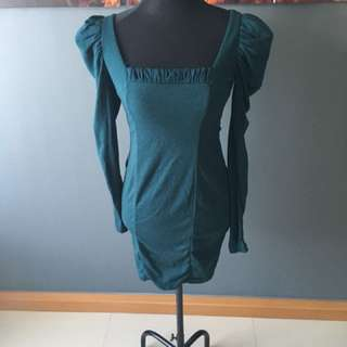Pink manila teal green blue long sleeves bodycon dress