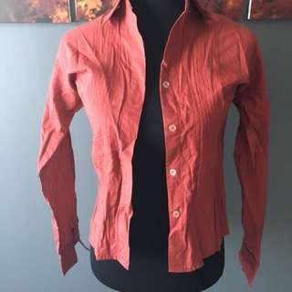 Meg Red button down long sleeves shirt