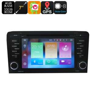 2 DIN Car DVD Play For Audi A3 - 7 Inch Display, Android 6.0, GPS, WiFi, 3G Support, CAN BUS, Octa-Core CPU, 4GB RAM (CVAIO-C591)