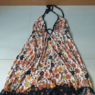 Mini Brand floral halter orange dress