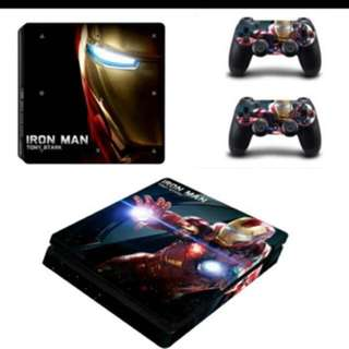 Ps4 Slim model decal(iron man) including 2 controllers
