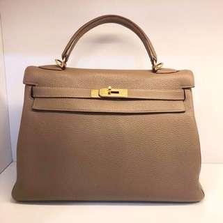 正品 88%新 Hermes Kelly 32 大象灰金扣手挽側揹袋 明星同款同色!
