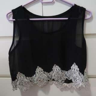 Black crop top with silver hem