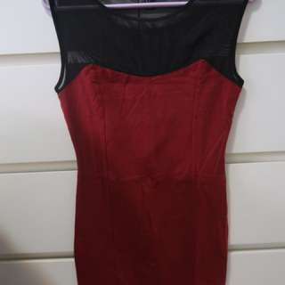 Red dress with black mesh
