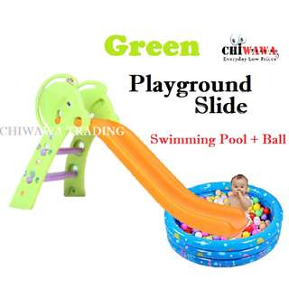 【Free Gift: Ocean Ball】Extra Big - Playground Foldable Slide + Swimming Pool