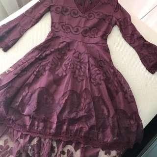 Linen lace dress ( maroon purple)