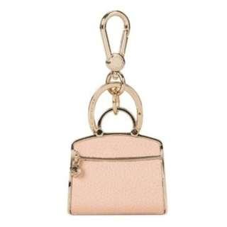 正品 FURLA BAGS Keyring 裸色小牛皮革手袋淺金色鍍金鑰匙扣鎖匙扣 附防塵袋