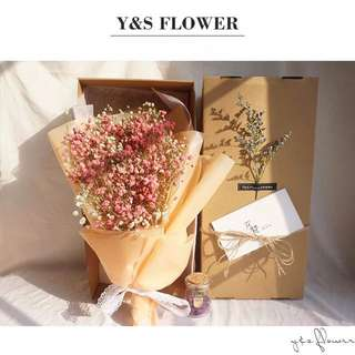 🌸「Exclusive Love」Korean babysbreath dried flower bouquet ➕glass wish bottle           Valentine's Day Special gift