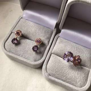 💝Natural Amethyst silver earrings and ring