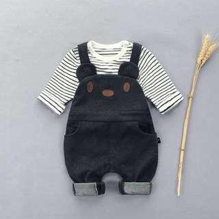 BN Baby Grey Romper Set in Size 90