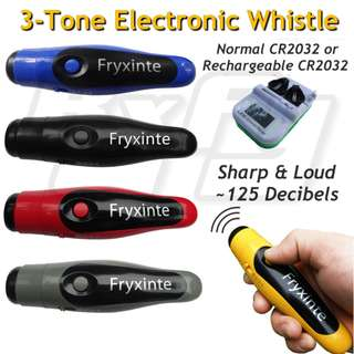 2/3 Tone Portable Electronic Electric Whistle Sound Alert Blaster (CR2032 or rechargeable battery, Louder than fox40)