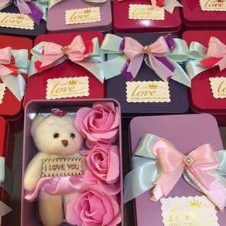 Valentines day teddy and soap flowers