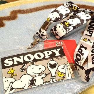 100% 原裝 日本 Peanuts Snoopy 史路比 電話繩 頸繩 連 卡套 Card Case 八達通套