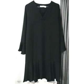 黑色V領雪紡荷葉袖魚尾洋裝