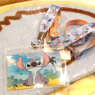 100% 原裝 日本 Stitch 史迪仔 電話繩 頸繩 連 卡套 Card Case 八達通套